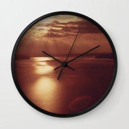 PUGET SOUND AT SUNSET, LOOKING TOWARD POINT DEFIANCE (LEFT) AND VASHON ISLAND (RIGHT) NARA 552350 Wall Clock