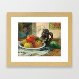 Still Life with Apples, a Pear, and a Ceramic Portrait Jug Framed Art Print