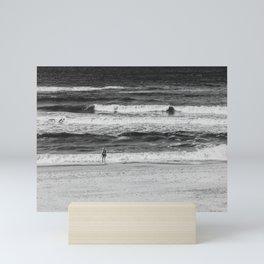 Beach North Sea Lonely Swimmer Girl Denmark Hvide Sande bw Mini Art Print