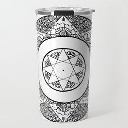 Flower Star Mandala - White Black Travel Mug