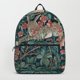 William Morris Forest Rabbits and Foxglove Greenery Backpack