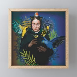 Cat woman with tropical birds in the night  Framed Mini Art Print