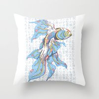 koi fish Throw Pillows featuring Koi Fish by MadameAce