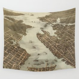 Vintage Map of Norfolk and Portsmouth VA (1873) Wall Tapestry