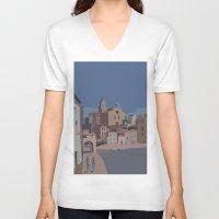 salvador dali V-neck T-shirts featuring PORT ALGUER - SALVADOR DALI by Agustin Flowalistik