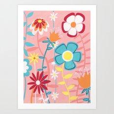 Flowers on Pink Art Print