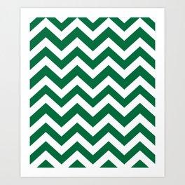 Cadmium green - green color -  Zigzag Chevron Pattern Art Print