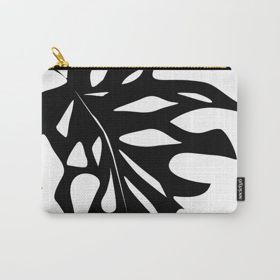 Black leaf monstera on white background . Carry-All Pouch