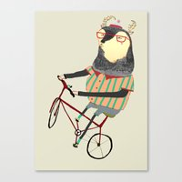bike Canvas Prints featuring Deer on Bike.  by Ashley Percival illustration