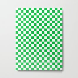 Small Checkered - White and Dark Pastel Green Metal Print
