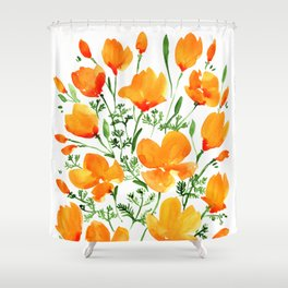 Watercolor California poppies Shower Curtain