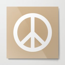 Peace (White & Tan) Metal Print