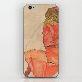 Egon Schiele - Kneeling Female in Orange-Red Dress iPhone Skin