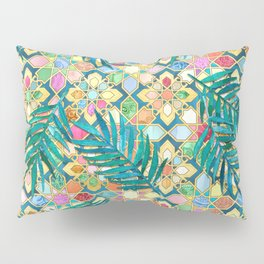 Gilded Moroccan Mosaic Tiles with Palm Leaves Pillow Sham