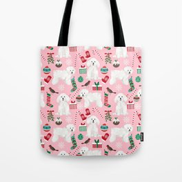 Bichon Frise pink christmas holiday themed pattern print pet friendly dog breed gifts Tote Bag