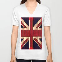 british flag V-neck T-shirts featuring BRITISH FLAG by shannon's art space