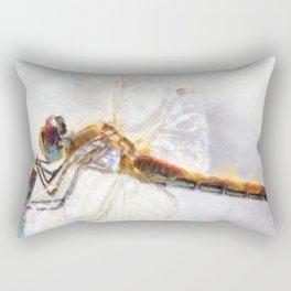Platinum White Dragonfly Watercolor Rectangular Pillow