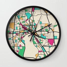 Colorful City Maps: Jacksonville, Florida Wall Clock