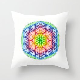 Flower of Life & the Seven Colours - The Rainbow Tribe Collection Throw Pillow