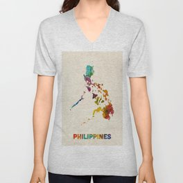 Philippines Watercolor Map Unisex V-Neck