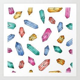 Crystals pattern - White Art Print