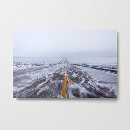 Endless Icy Road Metal Print
