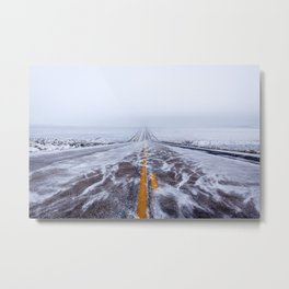 Endless Icy Road Metal Print