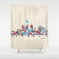 milwaukee Shower Curtains featuring Milwaukee Wisconsin skyline by bri.buckley
