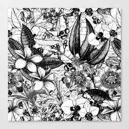 Black And White Tropical Flower Pattern Canvas Print