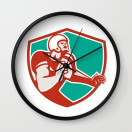 American Football Player Angry Shield Retro Wall Clock