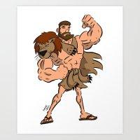hercules Art Prints featuring Hercules by Judas