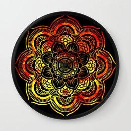 Fiery Sun Mandala Wall Clock