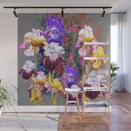 Decorative Spring Grey Iris Yellow & Pink Garden Wall Mural