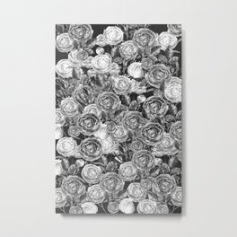 Vintage Roses Black And White Metal Print