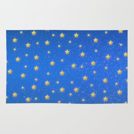 Cute Blue Starry Sky Rug