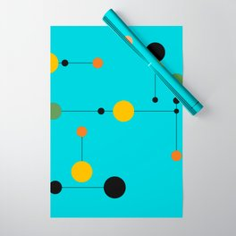 Dot line Dot in Aqua Wrapping Paper