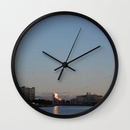Scottish Photography Series (Vectorized) - River Clyde Sunset Wall Clock