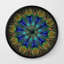 Radiant Peacock Feather Mandala  Wall Clock