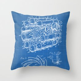 Airplane Jet Engine Patent - Airline Engine Art - Blueprint Throw Pillow