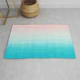 Grunge Pastel Millennial Pink Aqua Blue Teal Mint Linen Pattern Ombre Gradient Texture Rug