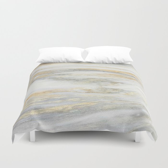 White Gold Marble Texture Duvet Cover