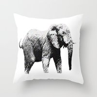 african Throw Pillows featuring African Elephant by T.E.Perry