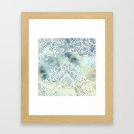MANDALA ON MARBLE Framed Art Print