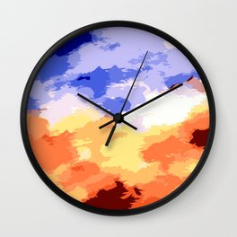 yellow blue and brown painting texture background Wall Clock