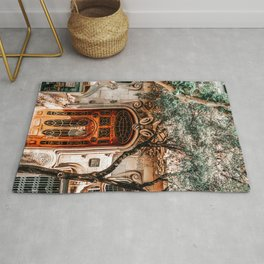 House Comalat Barcelona, Beautiful Door Entrance, Casa Comalat, Modernist Building in Barcelona, Architecture Urban City, City Travel Print Rug