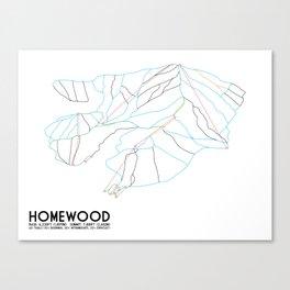 Homewood Ski Resort, CA - Minimalist Trail Art Canvas Print