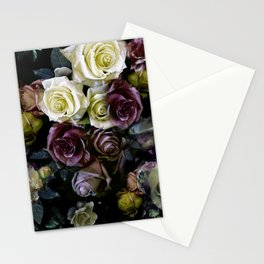 Roses dark moody Old Masters style floral pattern Stationery Cards