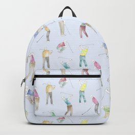Watercolor Golfers // Light Blue Backpack