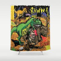 actor Shower Curtains featuring Space Chick & Nympho: Vampire Warrior Party Girl Comix #1- Tyrano the Dinosaur-God  in Comic Page  by Tex Watt