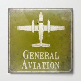 Aviation Art - Green - General Aviation Military Plane Metal Print